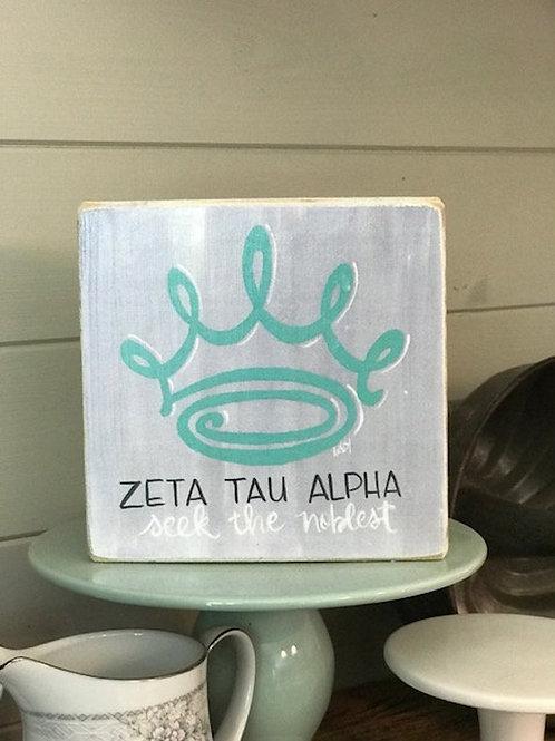 Zeta Tau Alpha Art Print On A Wood Block