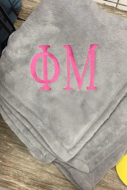 Phi Mu Greek Letters Embroidered Blanket