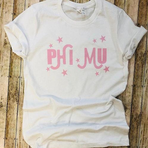 Phi Mu Retro Stars Sorority Tshirt