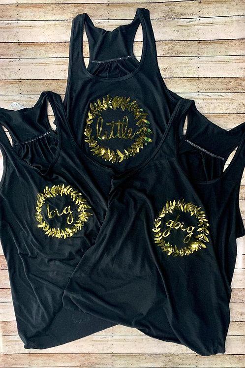 copy of Big Little Reveal Sorority Family Shirts - Metallic Wreath Design