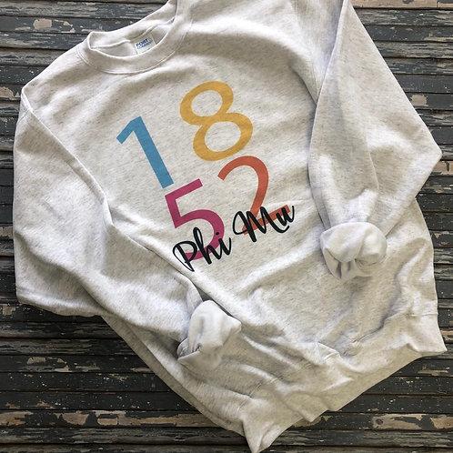 Phi Mu 1852 Color Block Sweatshirt and Tshirt