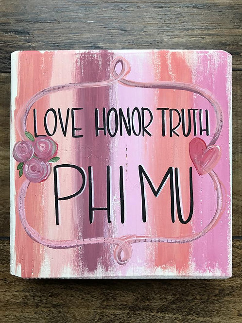 Phi Mu Art Print On A Wood Block