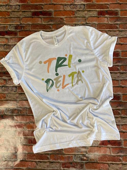 Delta Delta Delta Sorority Bella Canvas Brushed Design T-shirt
