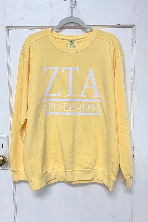 Zeta Tau Alpha Comfort Colors Sweatshirt - 2 Bar Design