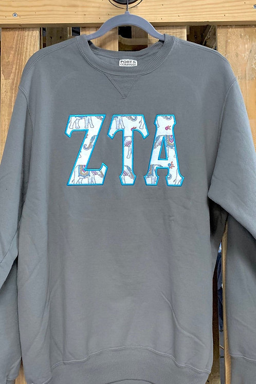 Zeta Tau Alpha Sweatshirt With Elephant Print Raised Greek Letters