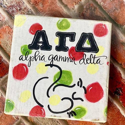Alpha Gamma Delta Art Print On A Wood Block