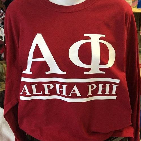 Alpha Phi Sorority Shirt - 2 Bar Design