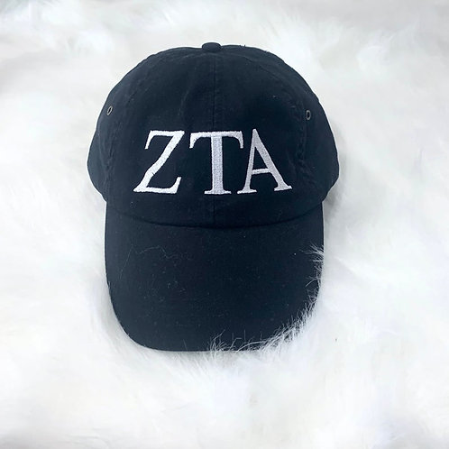 Zeta Tau Alpha Embroidered Hat - Greek Letters
