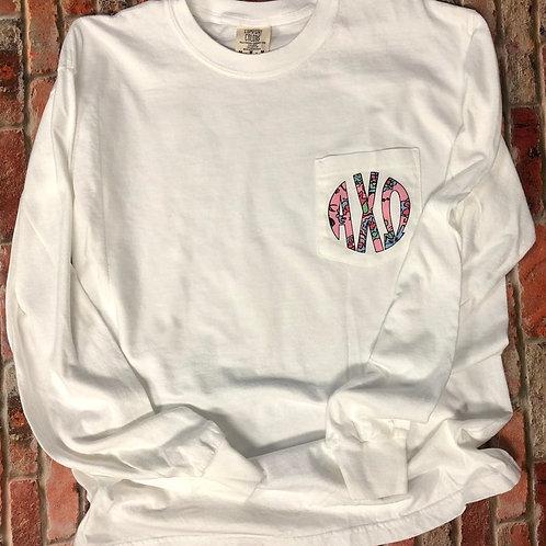 Alpha Chi Omega Floral Pocket Tshirt