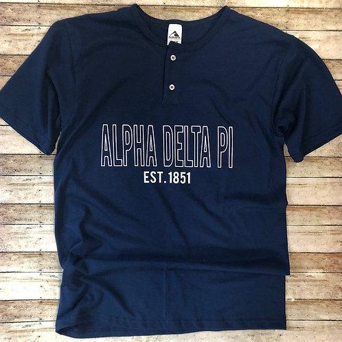 Alpha Delta Pi Sorority Henley Tshirts