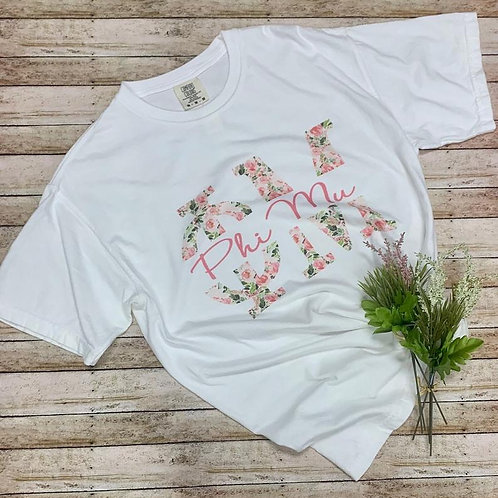 Phi Mu Floral Design Sorority T Shirt