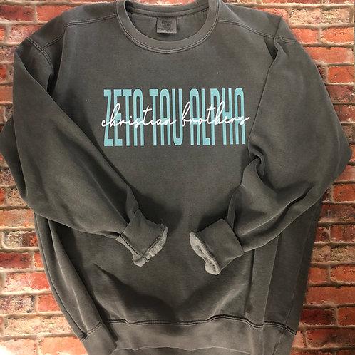 Zeta Tau Alpha Grey Comfort Colors Sweatshirt