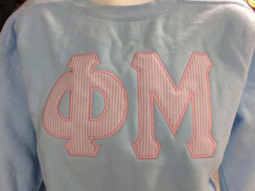 Phi Mu Greek Letter Comfort Colors Sweatshirt - Seersucker Applique