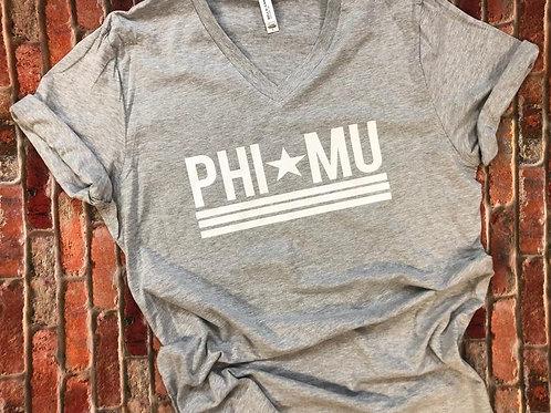 Phi Mu Star and Stripes Vneck Tshirt