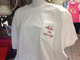 Alpha Chi Omega Comfort Colors Pocket T-shirts - You choose colors!