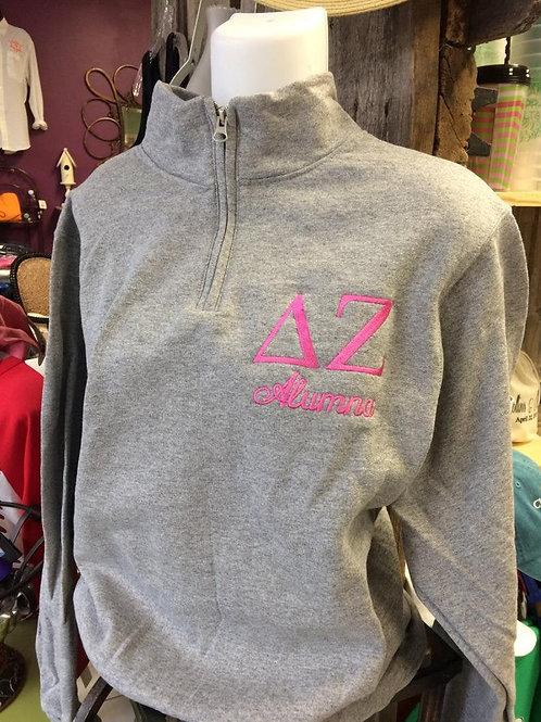 Delta Zeta Embroidered Quarter Zip Sweatshirt