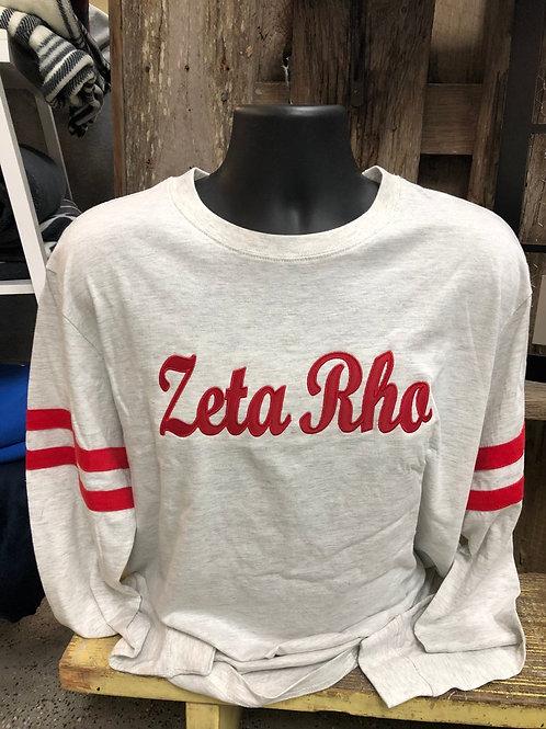 Zeta Rho Appliqued/Twill Sorority Long Sleeve Jersey