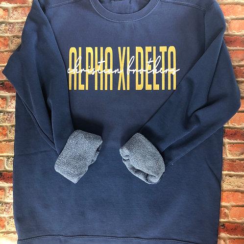 Custom Alpha Xi Delta Comfort Colors Sweatshirt