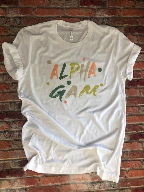 Alpha Gam Bella Canvas Brushed Design Tshirt