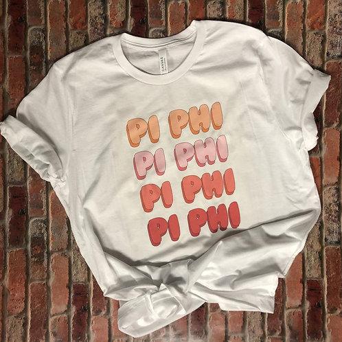 Pi Beta Phi Bubble Retro Sorority Shirt