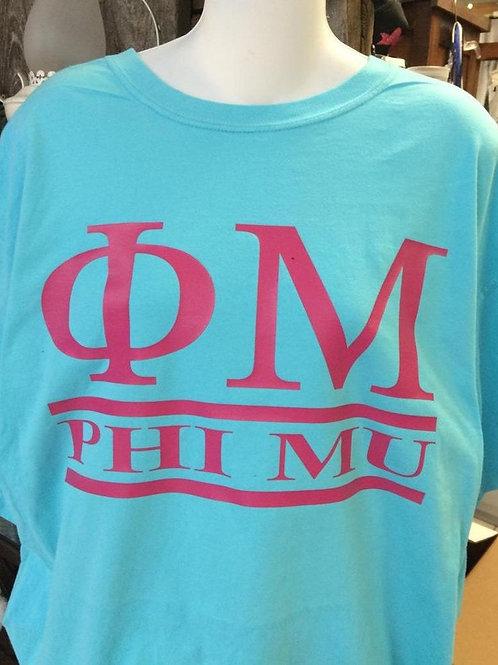 Custom Phi Mu Sorority Shirt - 2 Bar Design