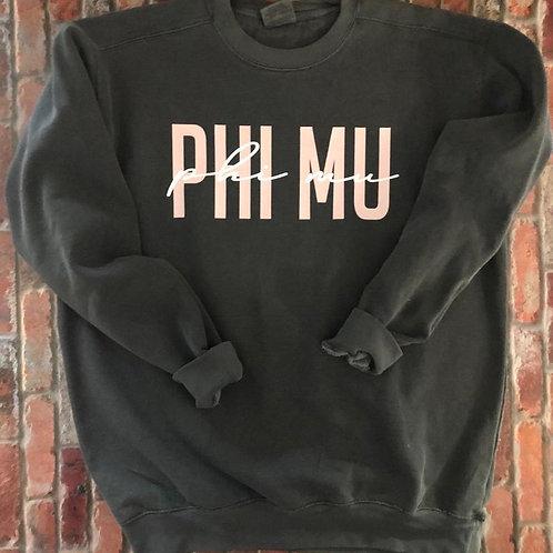 Phi Mu Light Pink and White Comfort Colors Sweatshirt