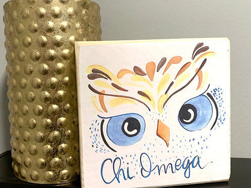 Chi Omega Art Print On A Wood Block
