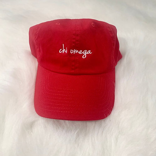 Chi Omega Embroidered Hat