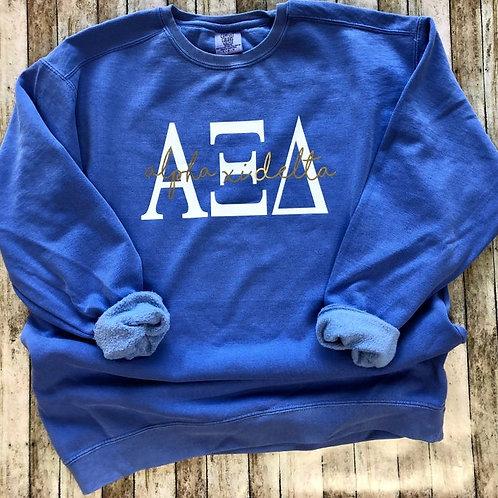 Alpha Xi Delta Flo Blue Comfort Colors Sweatshirt