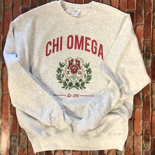 Chi Omega Crest Sweatshirts and Tshirts