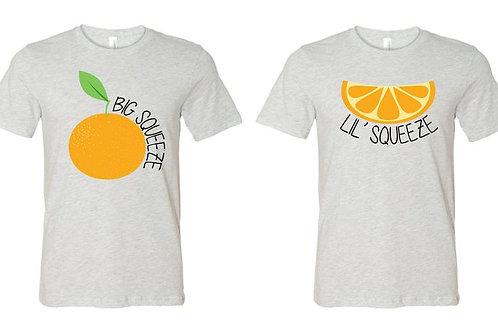 Big Little Shirt - Big Squeeze Little Squeeze Orange Design Shirt