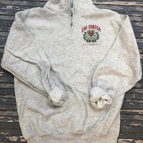 Chi Omega Crest 1/4 zip pullover sweatshirt