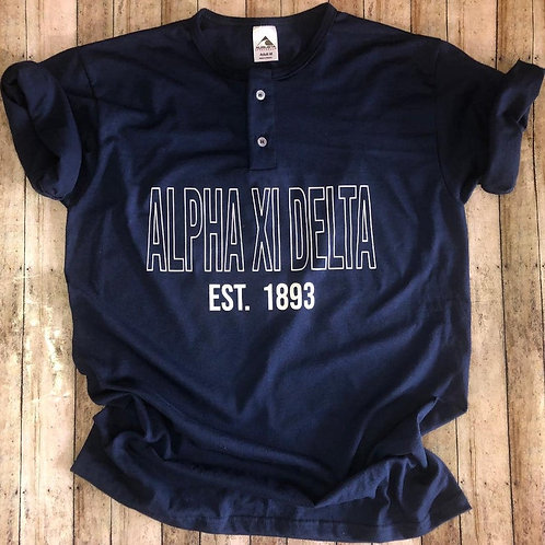 Alpha Xi Delta Custom Sorority Henley Baseball Shirt