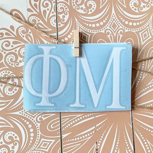 "Phi Mu Car Decal - 3"" X 5"" Greek Letters"