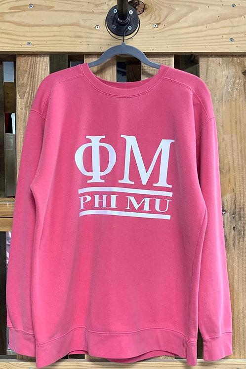 Phi Mu Comfort Colors Sweatshirt - Phi Mu AND Greek Letters 2 Bar Design