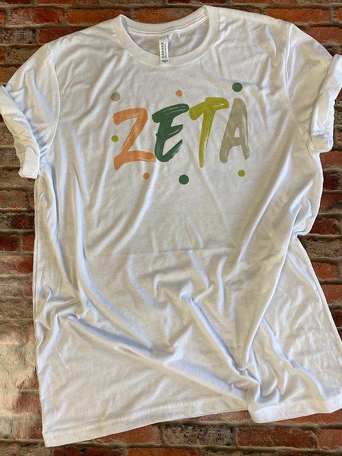 Zeta Sorority Bella Canvas Brushed Design Tshirt