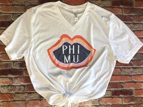 Phi Mu Retro Lip Sorority or Club Shirt