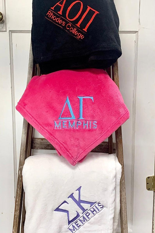 Custom Embroidered Sorority Blankets With School Name!