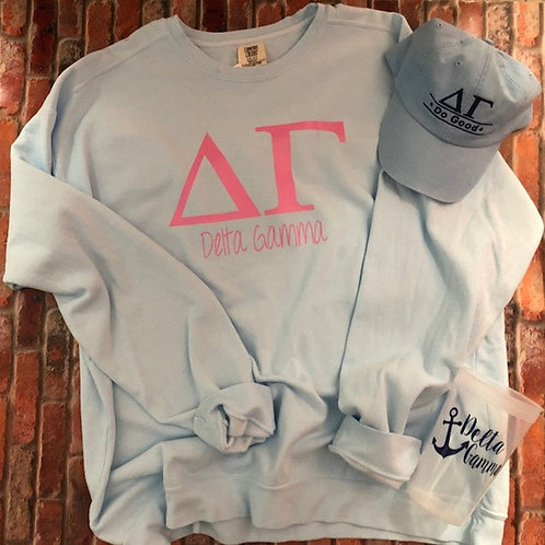 Delta Gamma Gift Set including Sweatshirt, Hat, and Cup
