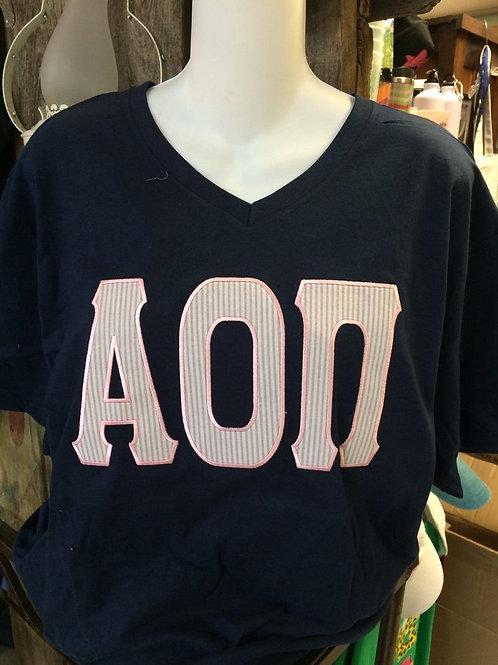 Alpha Omicron Pi Seersucker Raised Letter Shirt