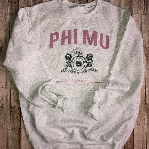 Phi Mu Crest Sweatshirts and Tshirts