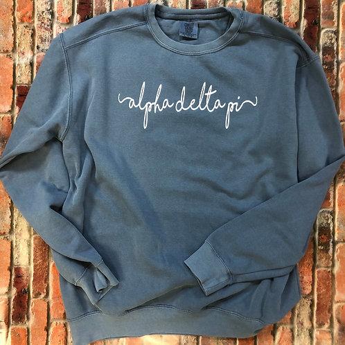 Custom Alpha Delta Pi Shorelines Comfort Colors Sweatshirt