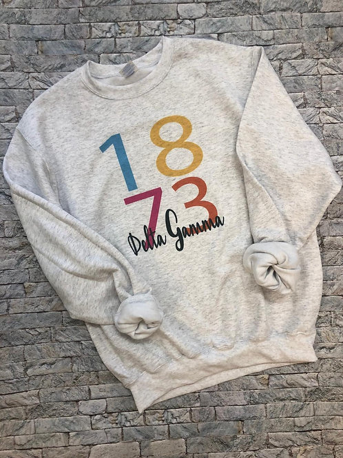 Delta Gamma 1873 Color Block Sweatshirt and Tshirt