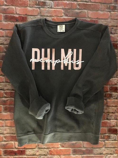 Phi Mu with School Name Custom Comfort Colors Sweatshirt