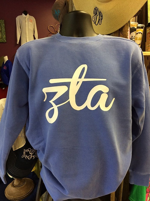Zeta Tau Alpha Branbol Comfort Colors Sweatshirt