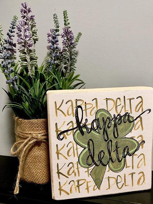 Kappa Delta Art Print On A Wood Block