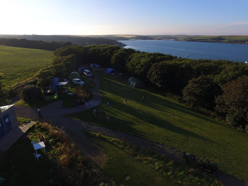 Aerial view of Point Farm Campsite and Dale Bay