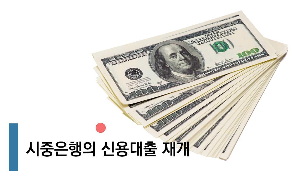 시중은행의 신용대출 재개