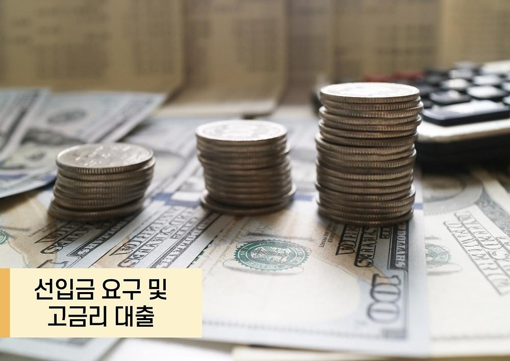 선입금 요구 및 고금리 대출