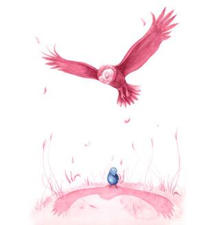 Eule umkreist Vogel